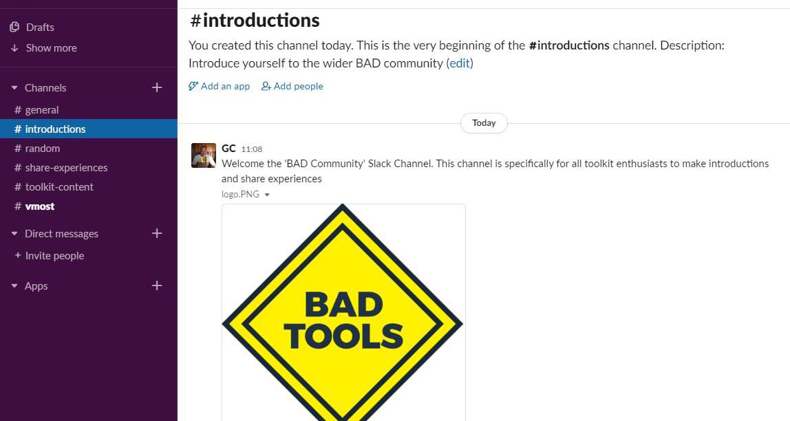 A screenshot of a slacck channel